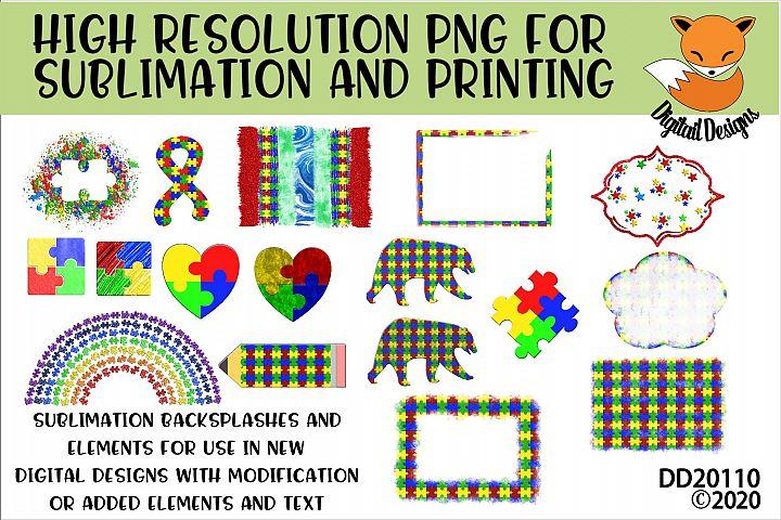 Autism Elements PNG for Sublimation