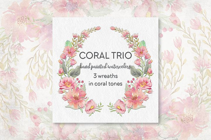Coral and blush - trio of watercolor wreaths