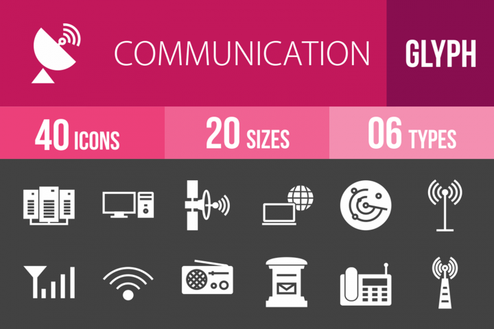 40 Communication Glyph Inverted Icons