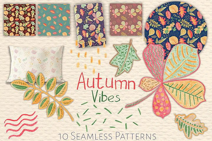 Autumn Leaves Handdrawn Clipart And Seamless Patterns