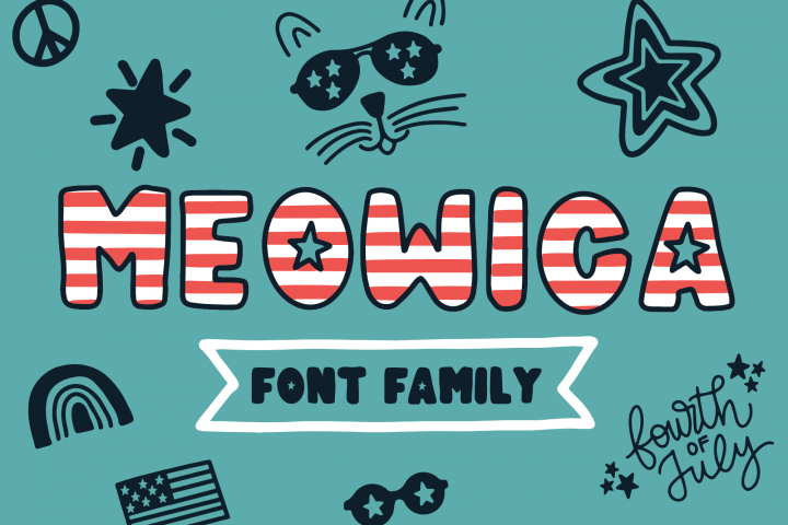 Meowica | A 4th of July Font Family
