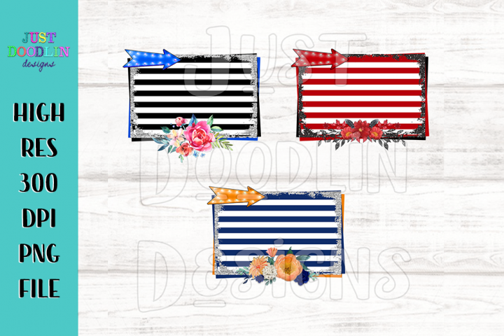 Striped background with glitter border and flowers PNG