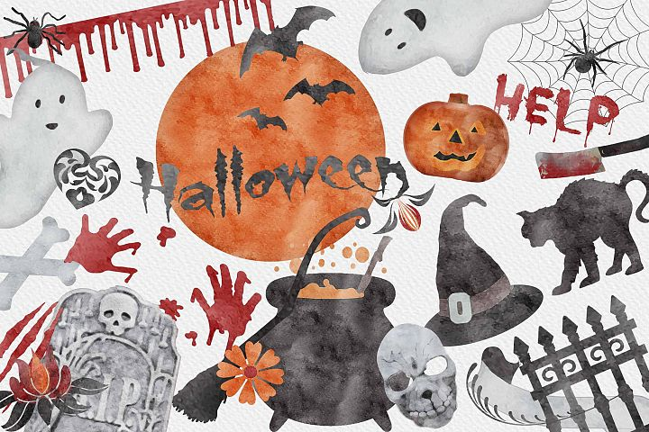 Halloween Elements - Watercolor Collection - 30 PNG | Vol.1