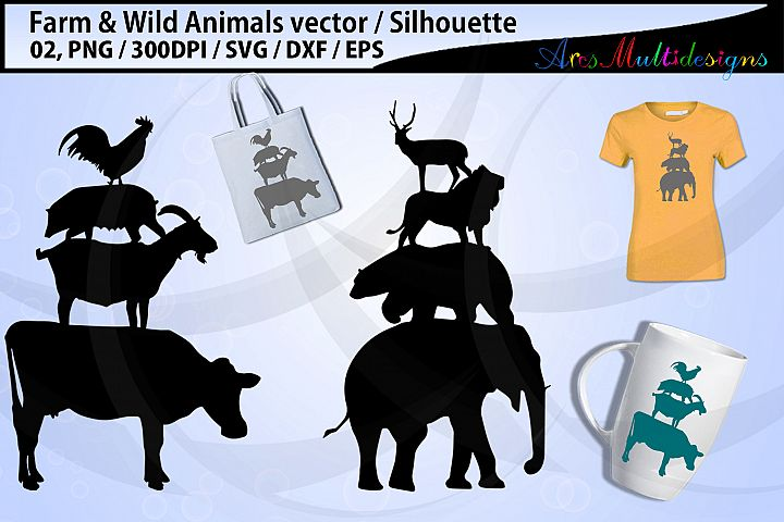 Farm animals SVG / Wild animal SVG / Stacked animals vector