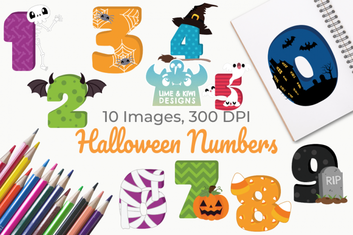 Halloween Numbers Clipart, Instant Download Vector Art