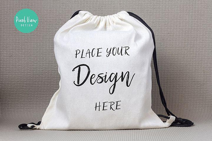 Drawstring Canvas Backpack Mockup
