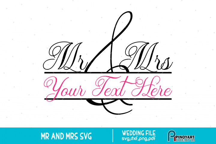 Mr and Mrs svg Split Monogram Frame