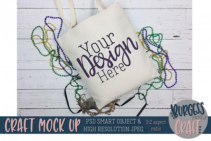 Mardi Gras Tote bag Craft mock up|PSD & JPEG