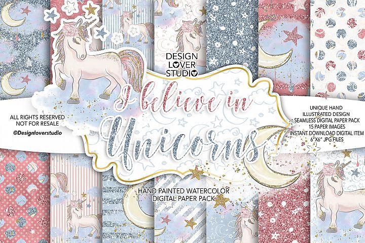 I believe in Unicorns digital paper pack