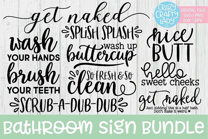 Bathroom Sign Home Decor SVG DXF EPS PNG Cut File Bundle
