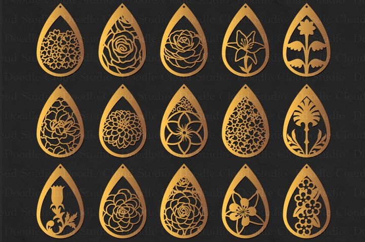 Floral Earrings SVG, Teardrop Earrings, Pendant SVG files for Silhouette Cameo and Cricut.