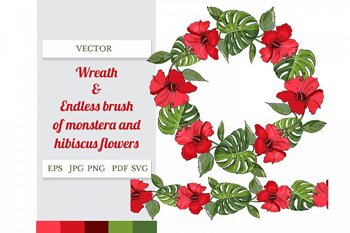 Wreath and endless brush of green monstera and red hibiscus.