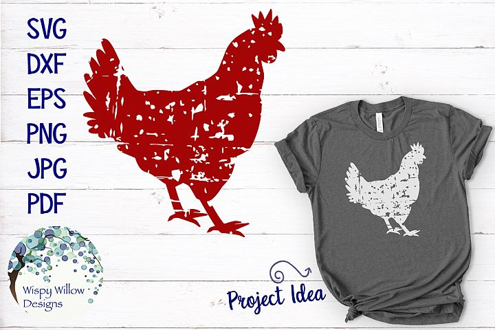 Grunge Distressed Rooster Chicken, Farm Animal SVG