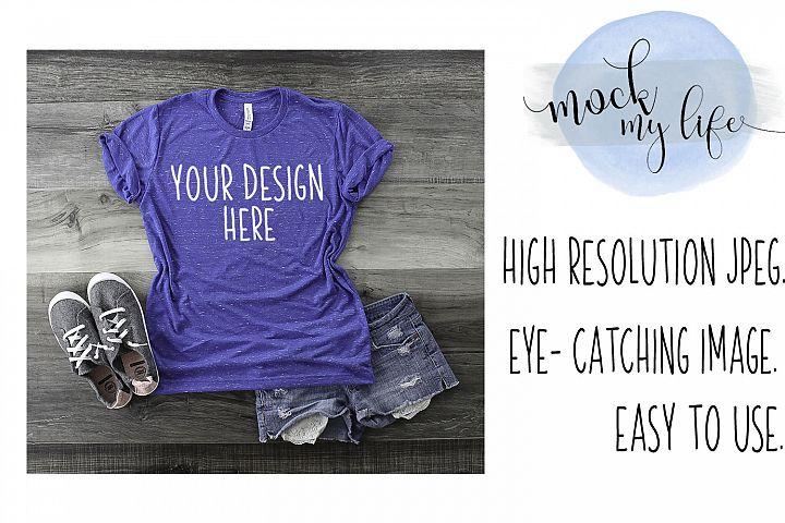 Mockup Bella Canvas Shirt / Flat Lay / Royal Blue Shirt