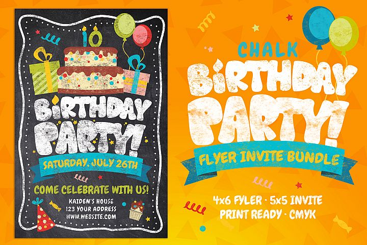Chalk Birthday Party Flyer Invitation Bundle