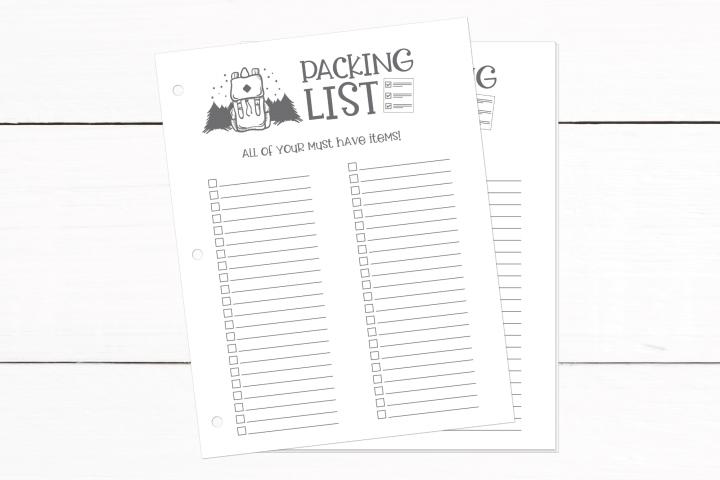 Packing Checklist - Travel Planning Printable Insert - PDF