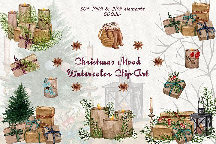 Christmas mood. Watercolor Clip-Art Set