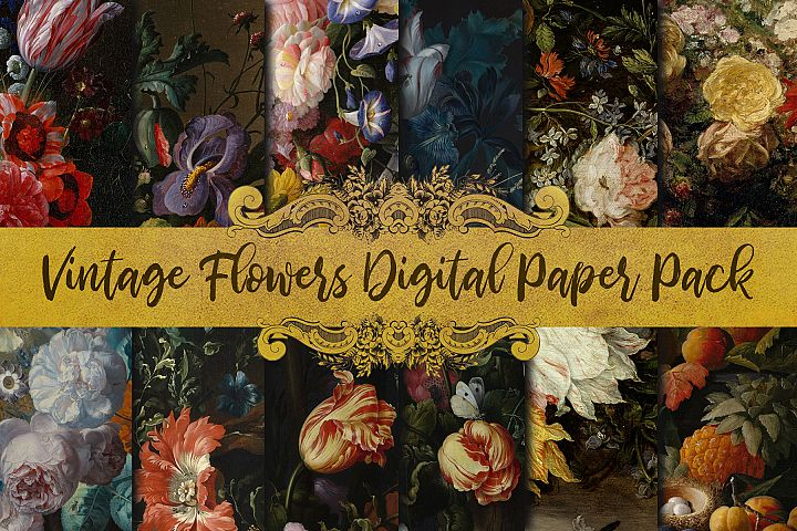 Vintage Flowers Oil Painting Digital Paper