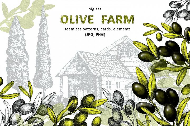 Olives. Olive farm. Watercolor and graphics. Big set.