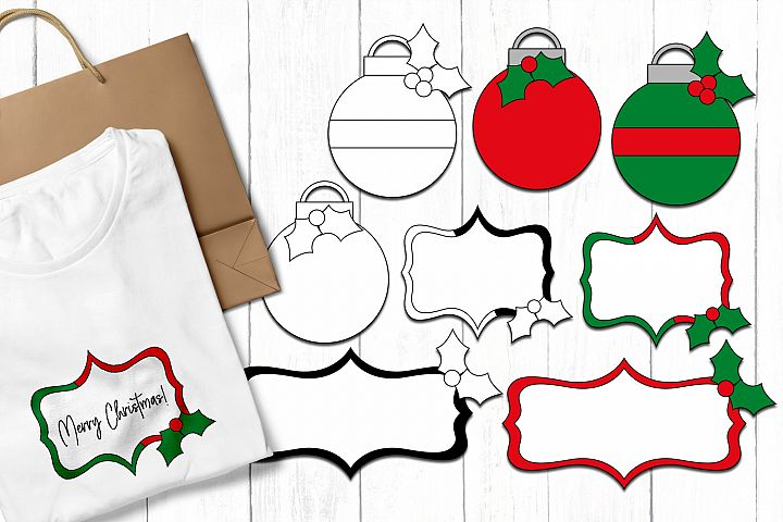 Christmas Illustrations - Ball Ornaments and Frames