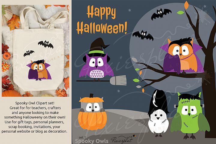 Spooky Halloween Owl Clip Art