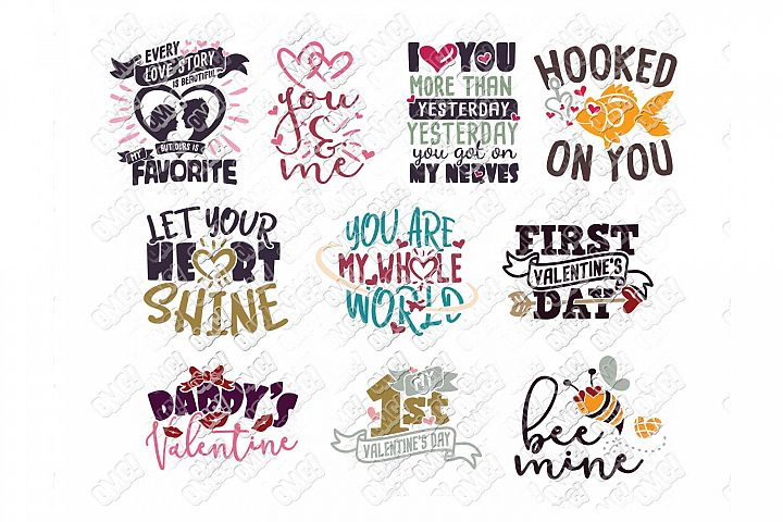 Valentine Quotes SVG Phrases Bundle in SVG/DXF/PNG/JPG/EPS example image 4