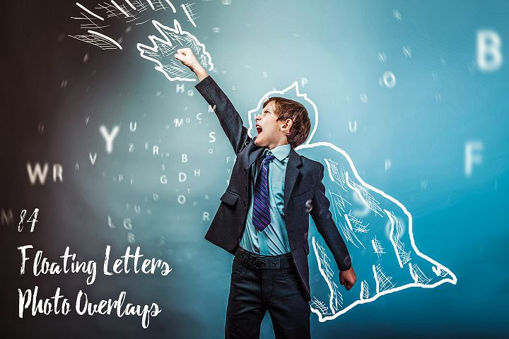 84 Floating Letters Photo Overlays