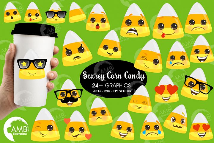 Cute Halloween corn candy Clipart AMB-2658