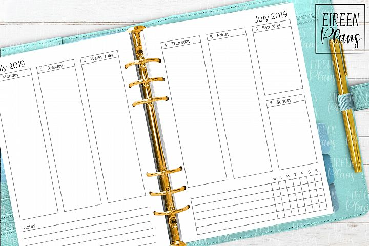 July 2019 - December 2020 Weekly Printable for A5 planners