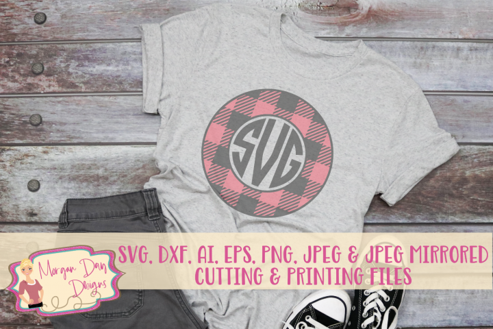 Plaid Monogram Frame SVG, DXF, AI, EPS, PNG, JPEG example