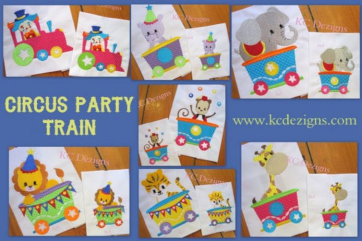 Circus Train Machine Embroidery Design