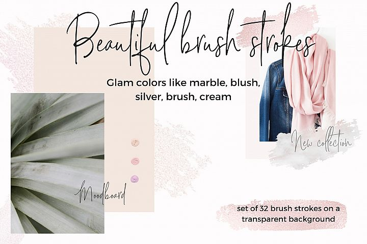 32 Brush strokes clipart