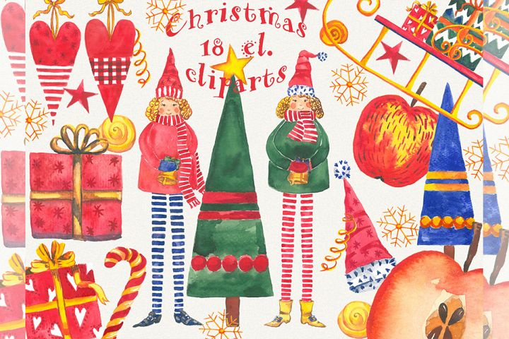 Christmas clipart, watercolor, Hand Painted, clip art