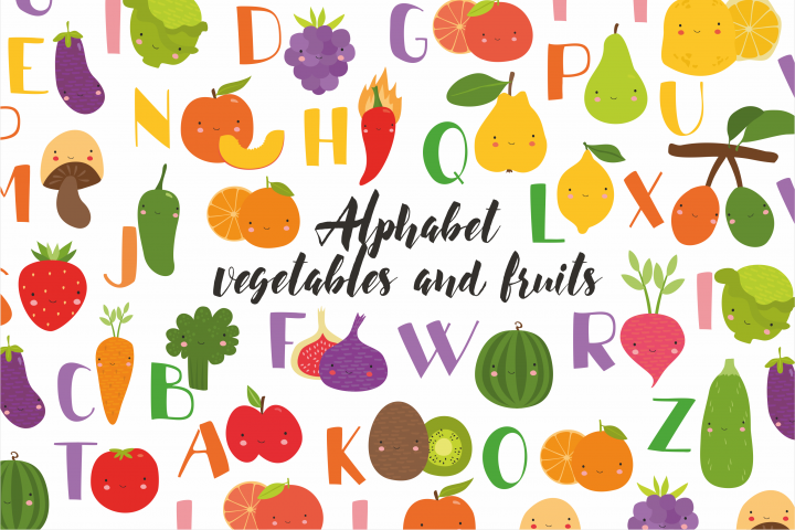 Alphabet vegetables and fruits kids