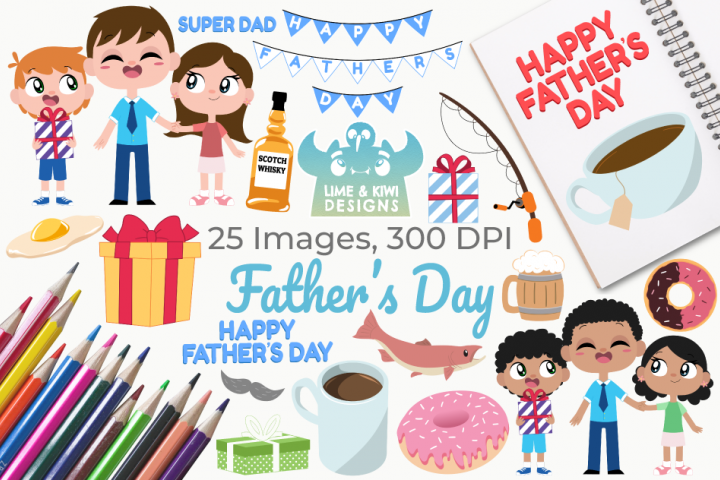 Fathers Day Clipart, Instant Download Vector Art
