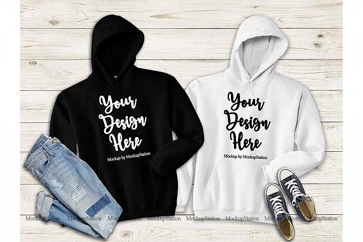 Matching Black White Hoodie Mock Up, Gildan 18500 Mockup