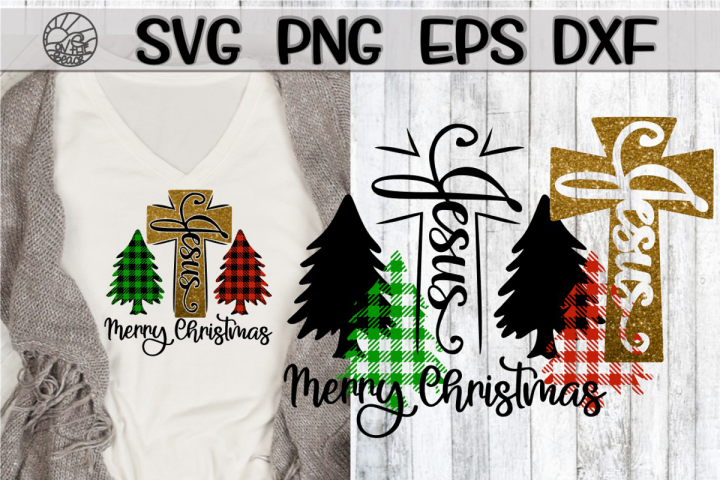 Jesus - Cross - Merry Christmas - Plaid - SVG PNG DXF EPS
