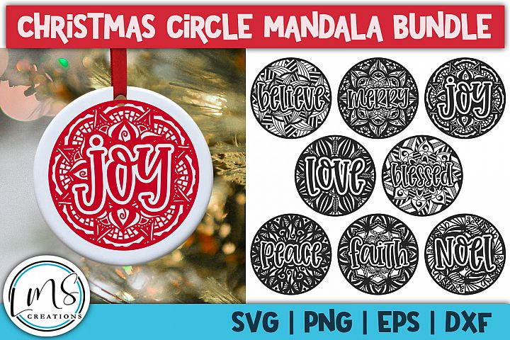 Christmas Circle Mandala Bundle SVG, PNG, EPS, DXF