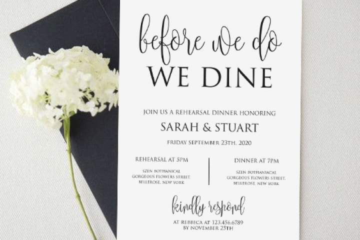 Before we do we dine invitation, Printable rehearsal dinner