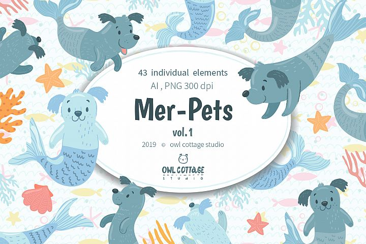 Mer-Dogs vector and raster Clipart Set
