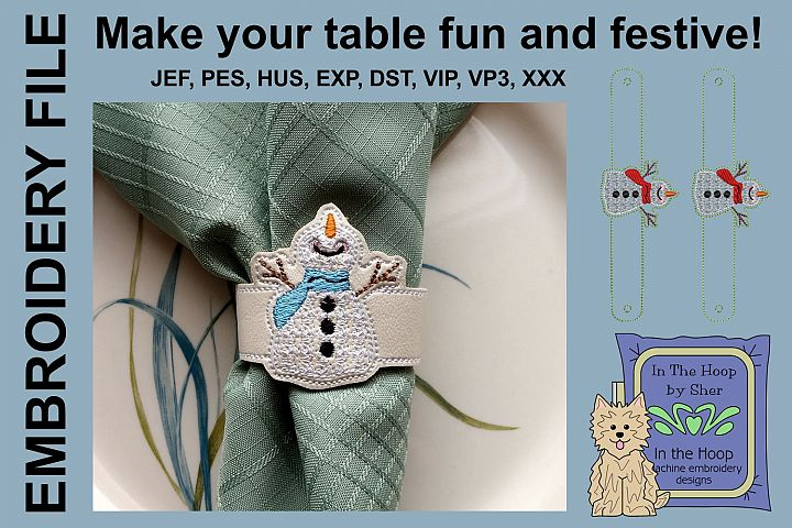 Happy Snowman Napkin Rings - Snowman Embroidery