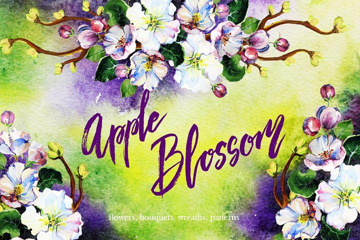 Apple blossom watercolor