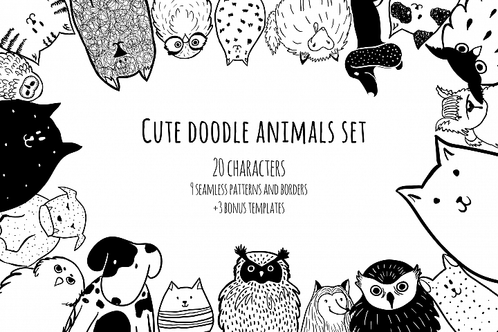 Cute doodle animals set