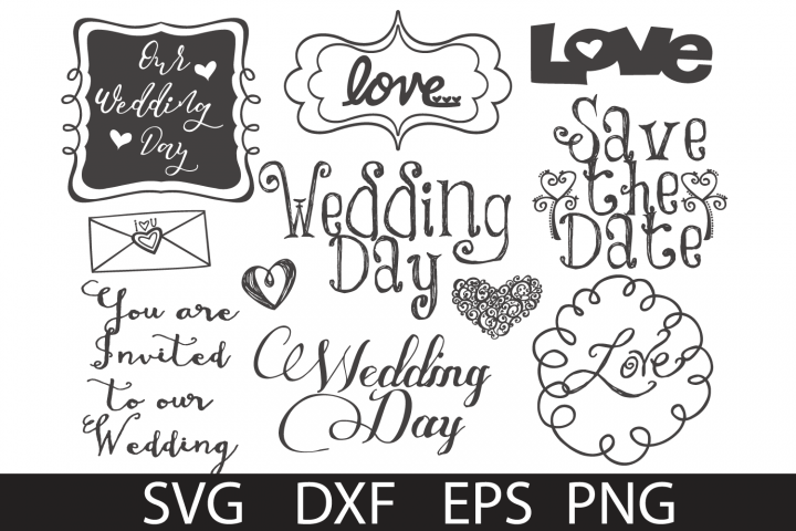 Wedding doodles Pack SVG DXF PNG EPS