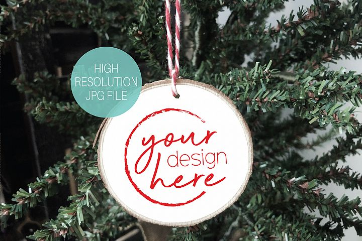 Round White Wood Slice Ornament Mockup | Christmas Mockup