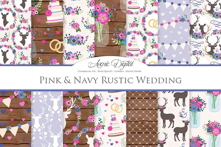 Pink and Navy Wedding Digital Paper - Navy and Pink Rustic Wedding Deer Seamless Patterns
