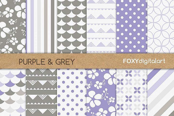 Digital paper purple floral hibiscus scrapbook polka dot