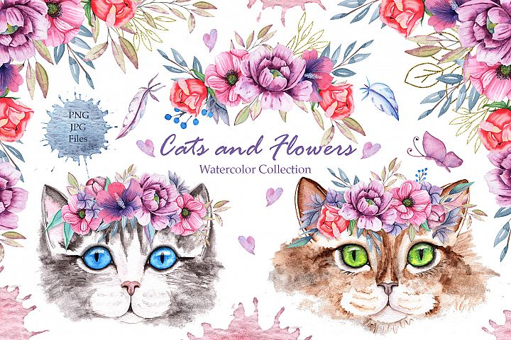 Watercolor Cats and Flowers