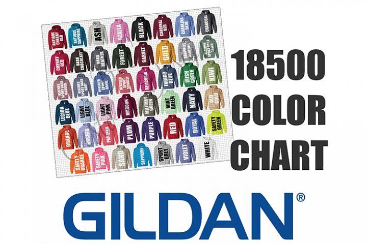 Gildan 18500 Hoodie Sweatshirt Color Chart