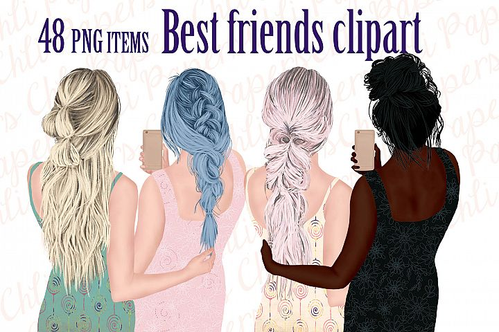 Best Friends Clipart,Girls with Phones,Fashion Girls